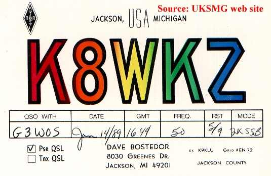 Dave's QSL Card. K8WKZ jumped into ham radio ...
